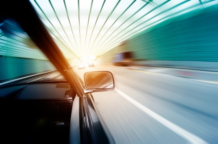 car on the tunnel wiht motion blur background Stock Photo - 14833044