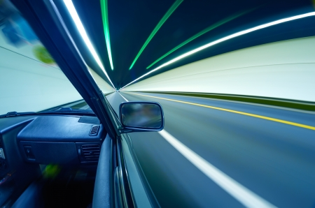 car on the tunnel wiht motion blur background Stock Photo - 14833052