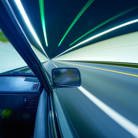 car on the tunnel wiht motion blur background Stock Photo - 14833041