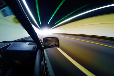 car on the tunnel wiht motion blur background Stock Photo - 14833047