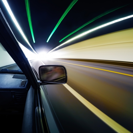 car on the tunnel wiht motion blur background Stock Photo - 14833037