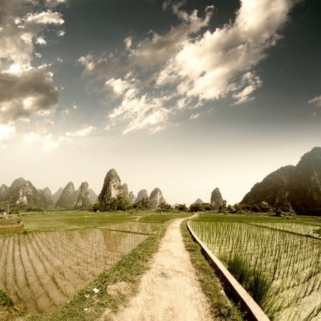 Path across the fields in guilin,china photo