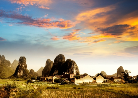Sunset in the countryside landscape in guilin,china photo