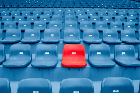 seating: Empty Plastic Chairs at the Stadium