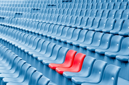 reserved seat: Empty Plastic Chairs at the Stadium