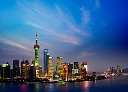 shanghai skyline at night Stok Fotoğraf