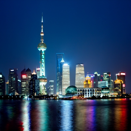 shanghai skyline at night Editorial