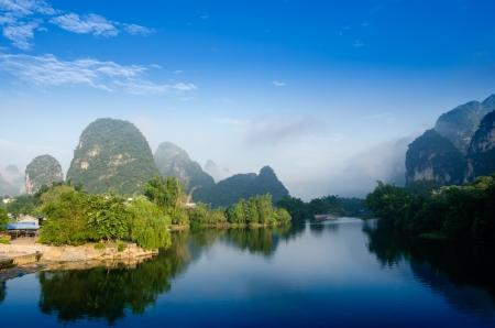 karst: Beautiful Karst mountain landscape in Yangshuo Guilin, China