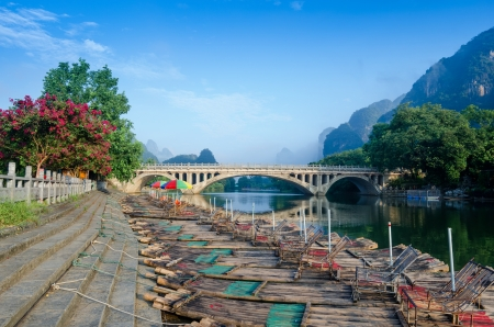 Li river karst mountain landscape in Yangshuo, China photo