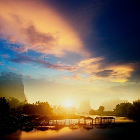 Sunset landscpae of yangshuo in guilin,china Stock Photo