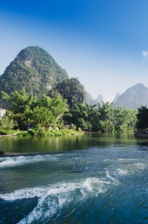 Beautiful Yu Long river Karst mountain landscape in Yangshuo Guilin, China photo