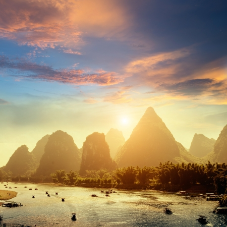 guilin: Sunset landscpae of yangshuo in guilin,china Stock Photo
