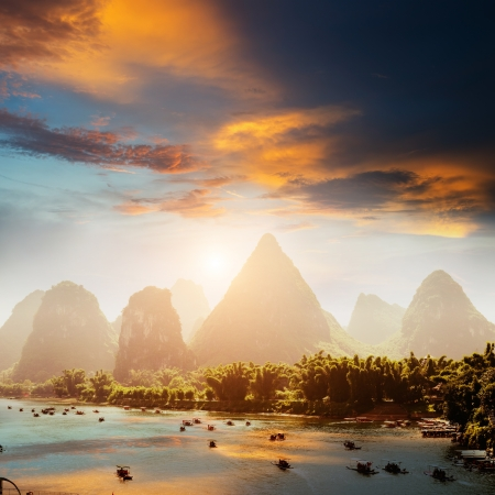 china landscape: Sunset landscpae of yangshuo in guilin,china Stock Photo