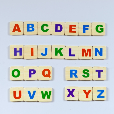 prinitng block: complete English alphabet - collage of 26 isolated on white back