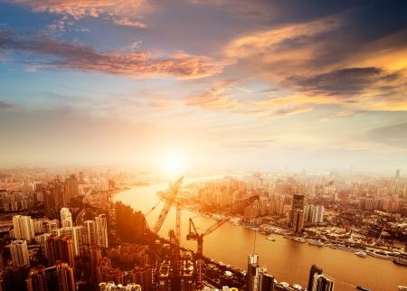 상하이 육가 취 금융 및 무역 지역의 스카이 라인