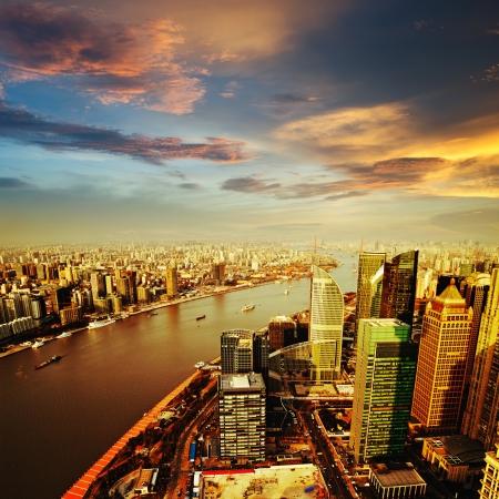 megalopolis: Pudong skyline at sunset, Shanghai, China Stock Photo
