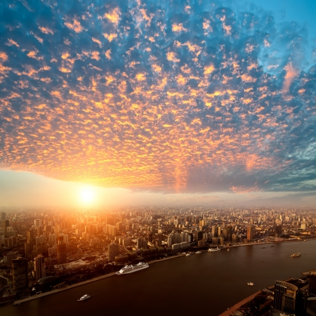 Pudong skyline at sunset, Shanghai, China photo