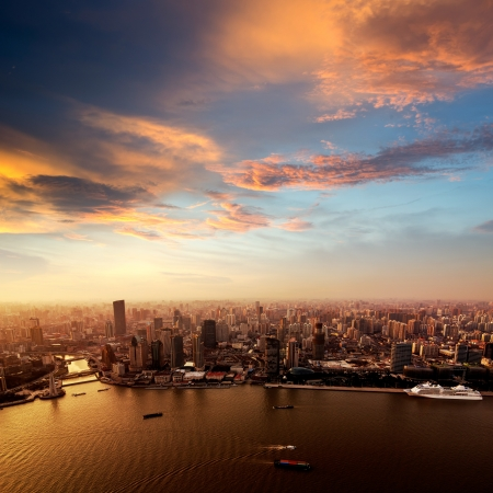 chinese culture: Pudong skyline at sunset, Shanghai, China Stock Photo