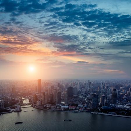 Pudong skyline at sunset, Shanghai, China Stok Fotoğraf