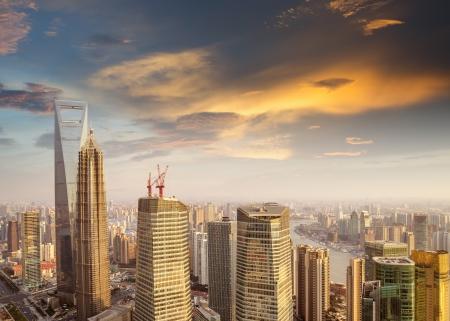 shanghai skyline: Skyline at sunset at shanghai