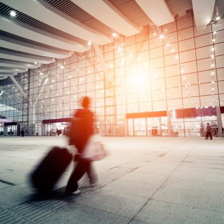 passengers motion blur in shenzhen train station waiting hall