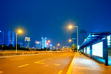 Urban road in the evening photo