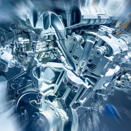 The cars engine closeup