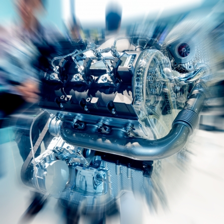 auto focus: The cars engine closeup