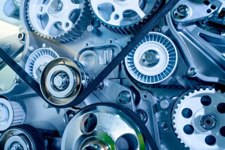Car engine closeup, focus on pulley Stock Photo