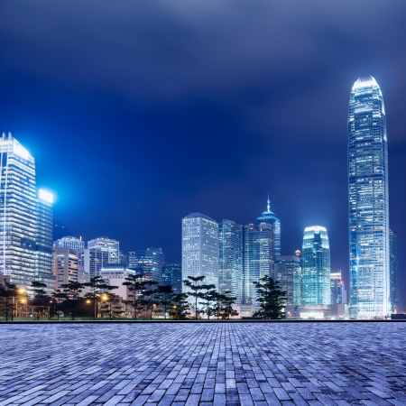 Hong Kong city skyline at nigh photo