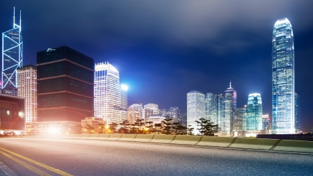 Highway and Hong Kong landscape at night Stock Photo