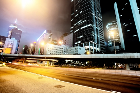 traffic in Hong Kong at night Stock Photo - 18476800
