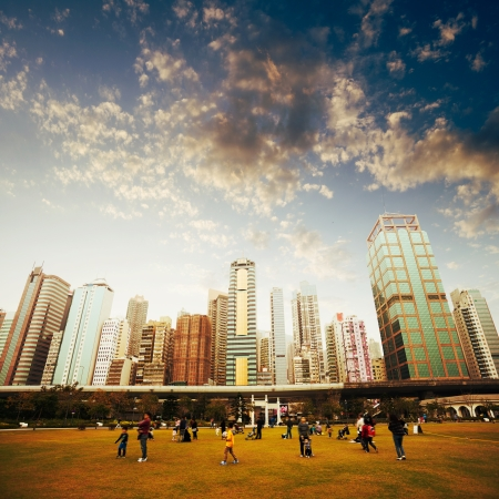cityscape silhouette: Park in Hong Kong, China