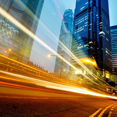 business building: modern city at night  in hongkong Stock Photo
