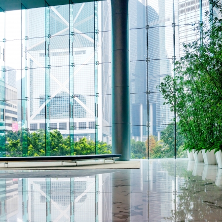 Glass wall in the office building Stock Photo