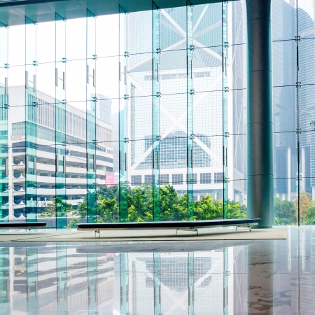 modern building: Glass wall in the office building Stock Photo