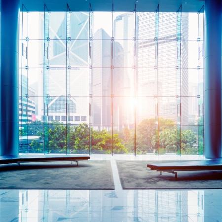 Glass wall in the office building Standard-Bild