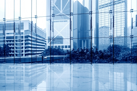 office space: Glass wall in the office building Stock Photo