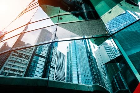 office building exterior: modern business center in hongkong Stock Photo