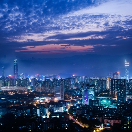 Urban landscape in the middle of the night,shenzhen,china