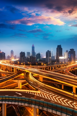 nightfall: beautiful city interchange overpass at nightfall in shanghai