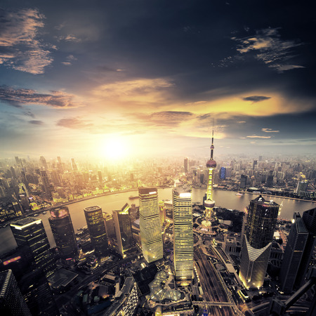 shanghai lujiazui finance and trade zone skyline Editorial