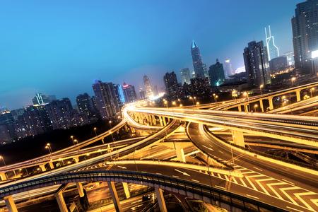 nightfall: beautiful city interchange overpass at nightfall in shanghai
