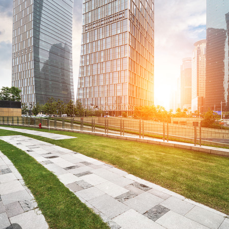 commercial activity: The lawn in the city of shanghai Stock Photo