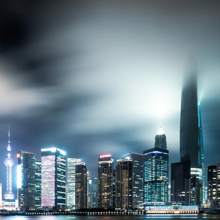 huangpu: shanghai skyline at night Stock Photo