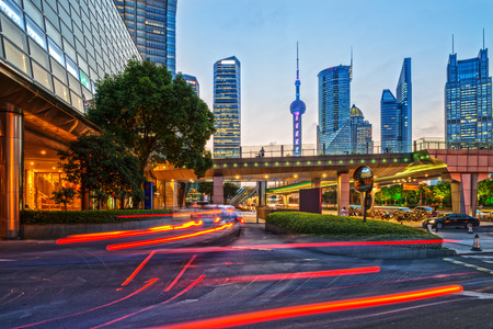 Modern building of the Lujiazui in Shanghai, China Stock Photo