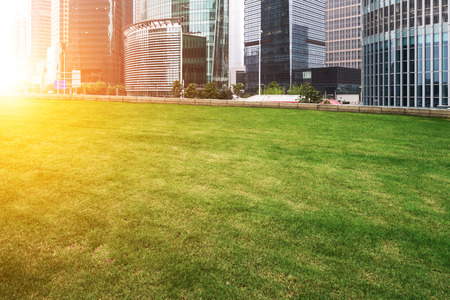 The lawn in the city of shanghai photo