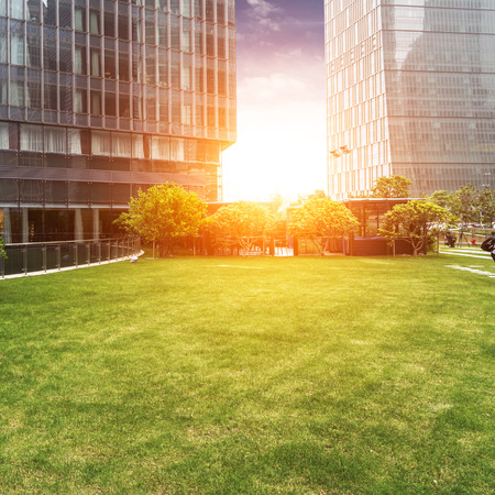 building backgrounds: The lawn in the city of shanghai Stock Photo