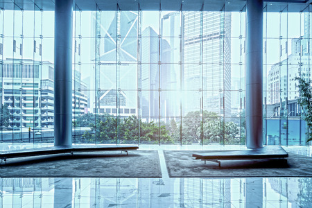 Glass wall in the office building Editorial