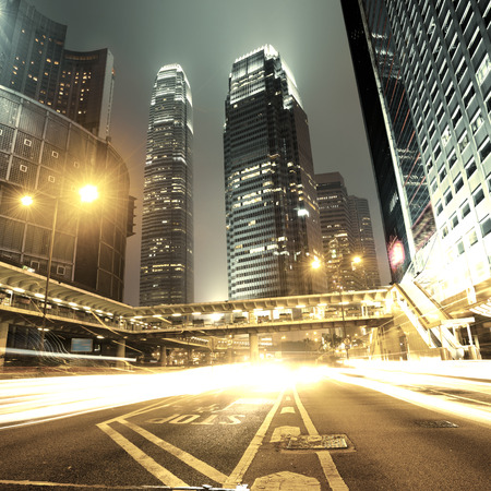 nightview: Car light trails and urban landscape in Hong Kong